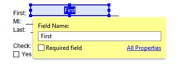 "Field Name Box for First Name Text Box with ""First"" listed as Field Name."