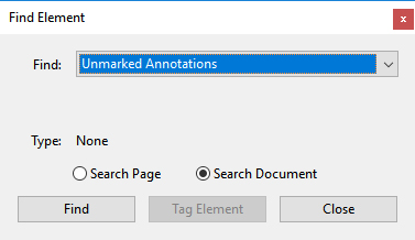 Screenshot of Find Element dialog box with Unmarked annotations selected and Search Document radio button selected.