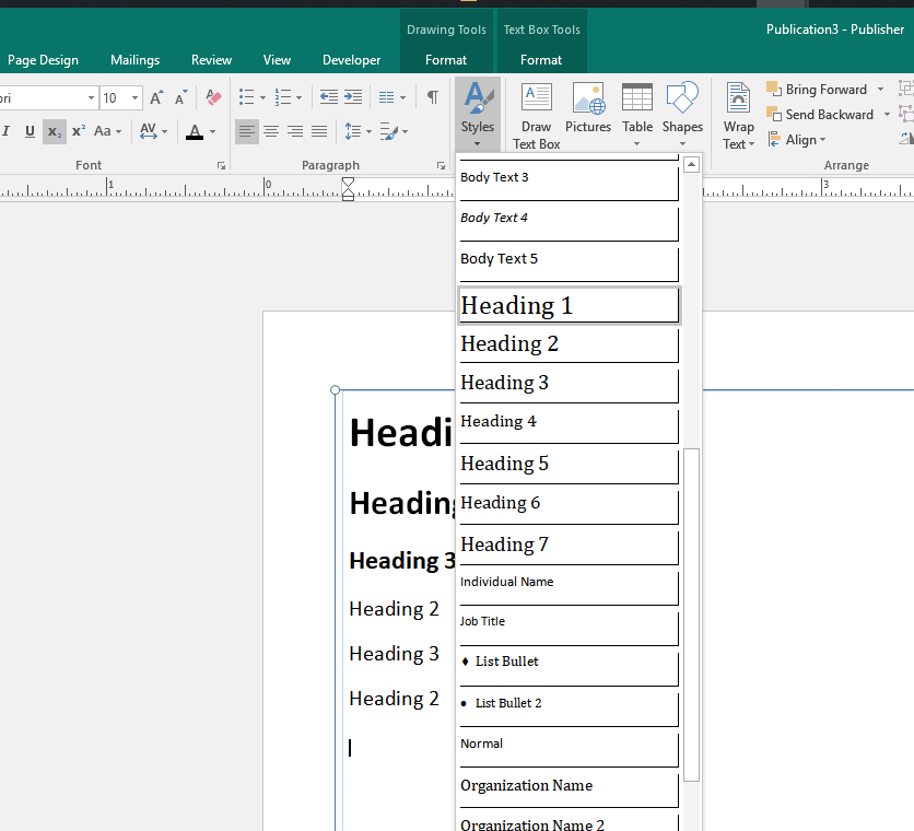 Screenshot of Publisher document with Heading 1 selected from Styles Options.