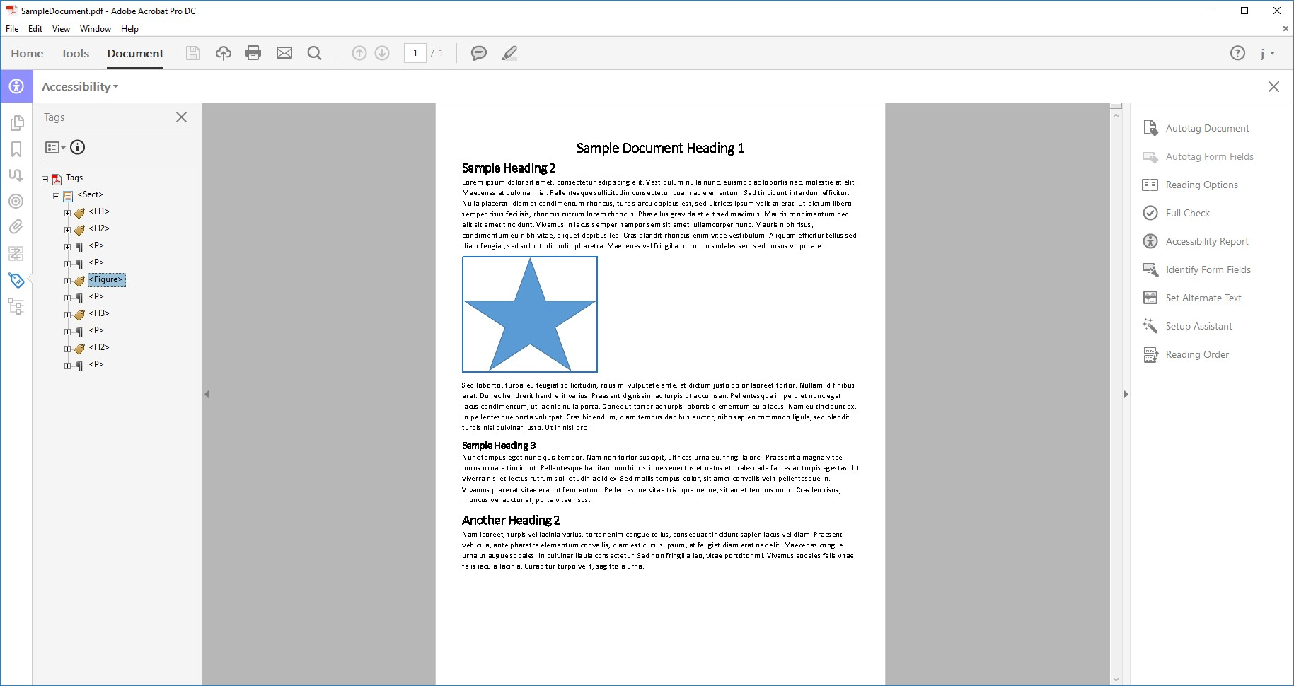 Screen shot of Sample Document in Adobe Acrobat DC with the Tags Panel open and an image of a star selected.