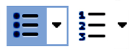 Image of a drop down listBulleted list and number list buttons in Microsoft Word Editor; Bulleted list button is selected.