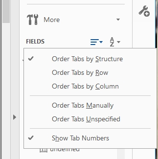 Screenshot of Fields menu drop with options to Order tabs by Structure, Row, Column, Manually or unspecified. Order Tabs by Structure and Show Tab Numbers are checked.