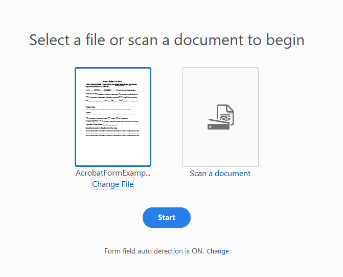Screenshot of Select a File or Scan a Document screen.