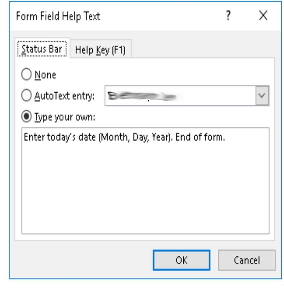 "Screenshot of Help Text dialogue box with ""End of Form."" as the last sentence of the help text."