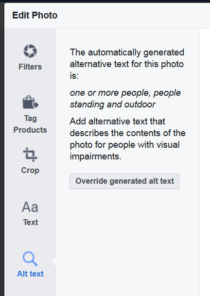 Screenshot of Alt Text with button for Override generated alt text.