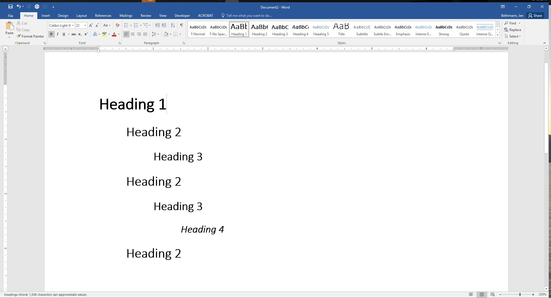 Screenshot of Word document with nested Heading Levels.