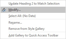Screenshot of drop down menu for Heading Style with Modify selected.