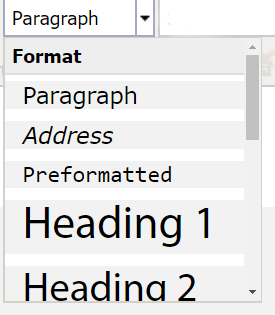 Screenshot of format option box menu showing Paragraph, Address, Preformatted, Heading 1 and Heading 2.