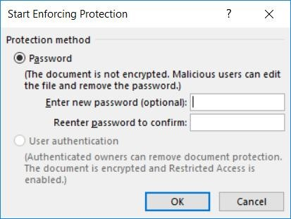 Screenshot of Start Enforcing Protection dialogue box.