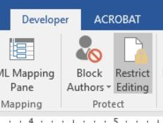 Screenshot of the Developer Tab with Restrict Editing selected from the Protect Group.