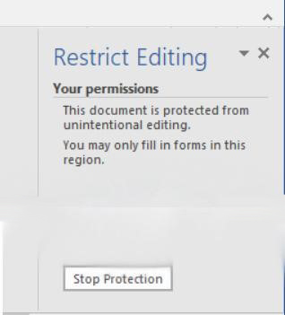 Screenshot of Restrict Editing Panel with Stop Protection Button