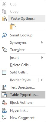 Screen shot of Dropdown menu with Table Properties selected.