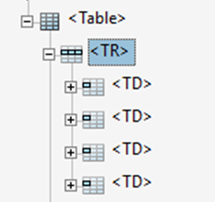 Screenshot of table row tag.
