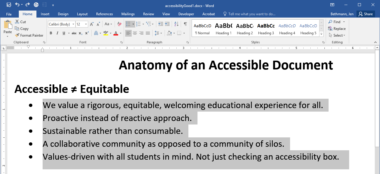 Screenshot of Microsoft Word  with text selected and the bulleted list button selected.