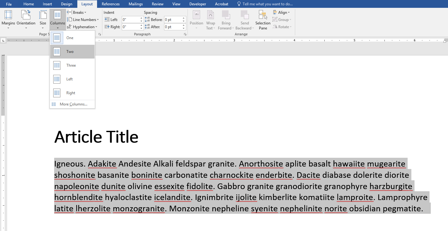 Screenshot of Microsoft Word with text selected and two column option selected.