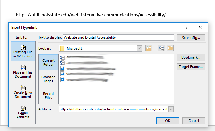 Screenshot of Insert Hyperlink dialogue box with Text to Display filled out with meaning text.