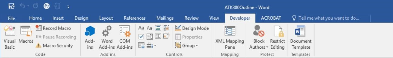 Screenshot of Word Document Main Tab Options with the Developer Tab open.