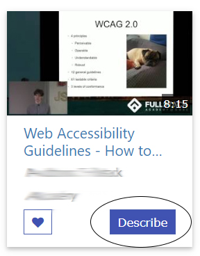 Screenshot of Video option with the Describe button circled.